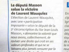 VAR Matin décembre 2017- Élections du Président de LR Jean-Louis MASSON Salue la victoire de Laurent Wauquiez.